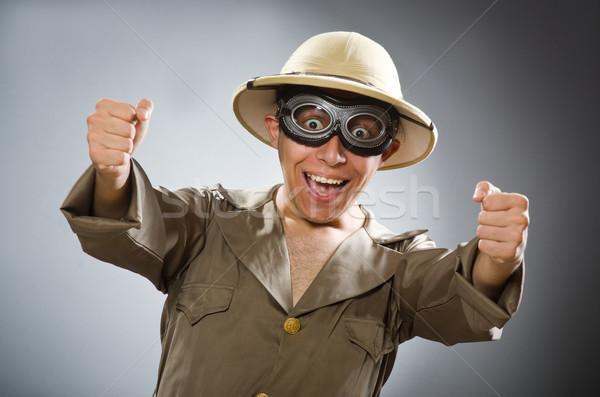 Hombre safari sombrero funny sol Foto stock © Elnur