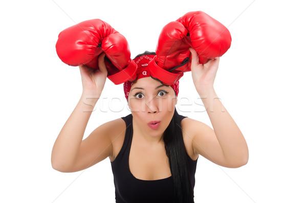 Kadın boksör yalıtılmış beyaz gülümseme spor Stok fotoğraf © Elnur