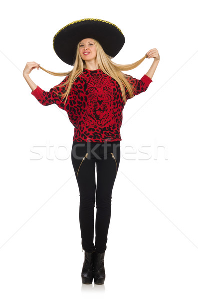 Grappig Mexicaanse vrouw sombrero geïsoleerd Stockfoto © Elnur