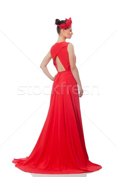 довольно кавказский модель красный долго вечернее платье Сток-фото © Elnur