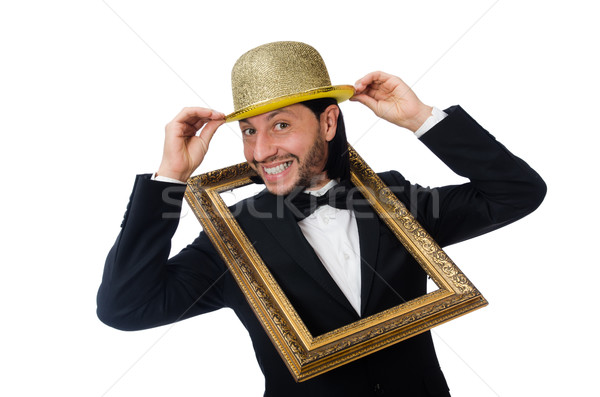 Man with picture frame isolated on white Stock photo © Elnur
