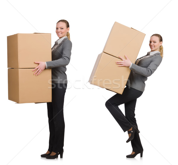 Composite image of woman with boxes on white Stock photo © Elnur