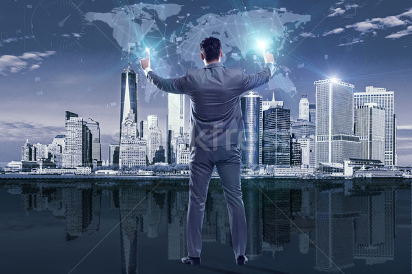 Empresário global de negócios homem mundo terra espaço Foto stock © Elnur