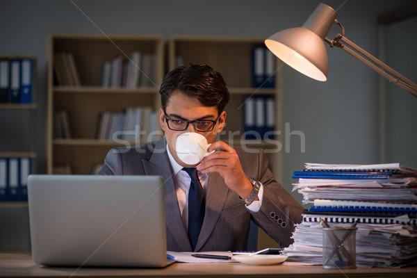 Zakenman kantoor lang man triest thee Stockfoto © Elnur