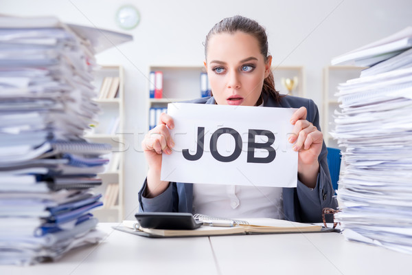 Businesswoman not coping with workload and resigning Stock photo © Elnur