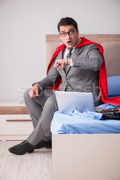スーパーヒーロー 女性実業家 作業 ベッド ビジネス 男 ストックフォト © Elnur