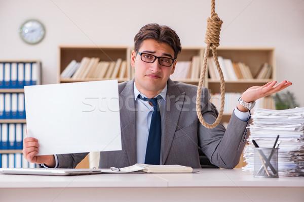 бизнесмен самоубийства подвесной компьютер пространстве Сток-фото © Elnur