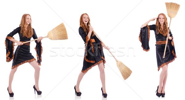 Nice ведьмой метлой белый девушки древесины Сток-фото © Elnur