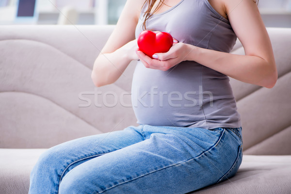 Pregnant woman with a belly tummy sitting on a sofa at home Stock photo © Elnur
