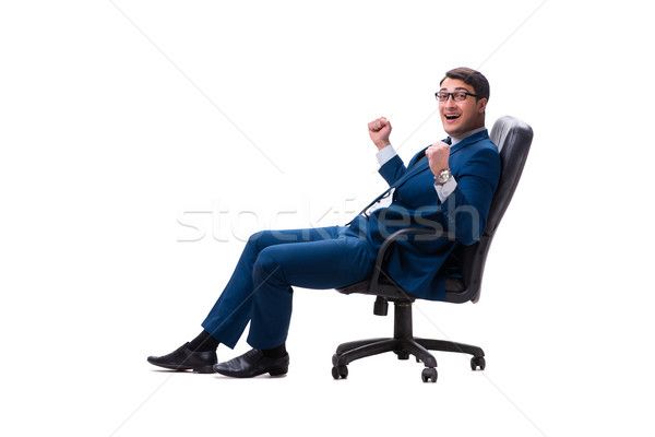 Businessman sitting on chair isolated on white Stock photo © Elnur