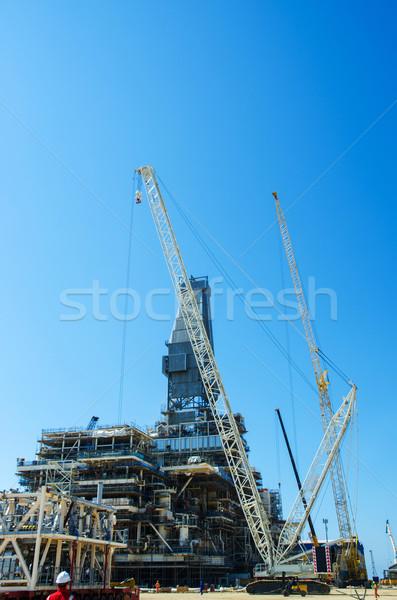 Offshore fúrás építkezés égbolt technológia olaj Stock fotó © Elnur