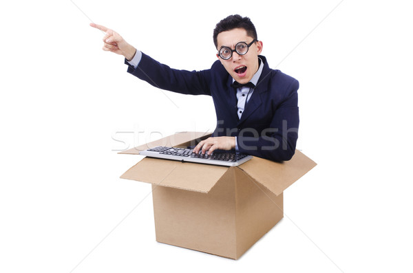 Funny computer geek sitting in the box Stock photo © Elnur