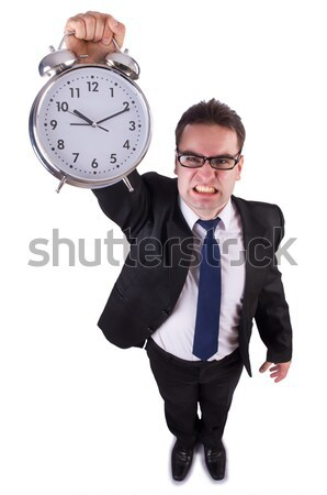 Woman with dynamite and clock on white Stock photo © Elnur