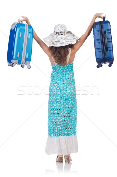 Kadın yaz tatili yalıtılmış beyaz kız mutlu Stok fotoğraf © Elnur