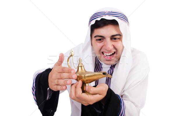 Foto stock: Árabe · homem · lâmpada · isolado · branco · negócio