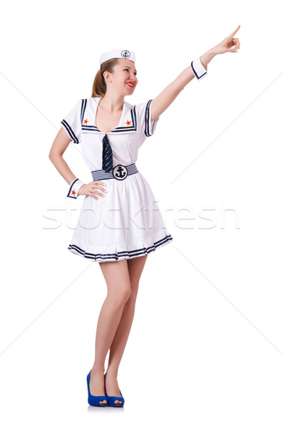 Stewardess pressing virtual buttons in the air Stock photo © Elnur