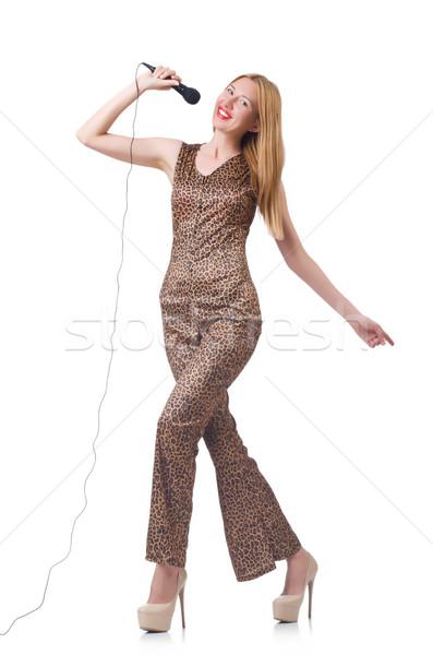 Femminile cantante isolato bianco party capelli Foto d'archivio © Elnur