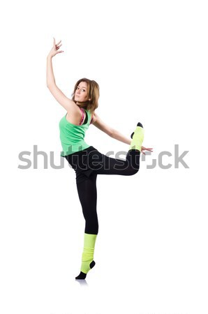 Young girl with swiss ball doing exercise Stock photo © Elnur