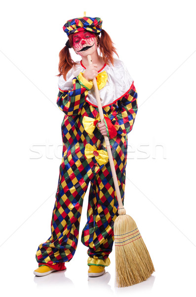 Clown with broom isolated on white Stock photo © Elnur