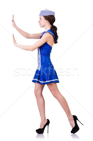 Nő jelmez toló virtuális akadály mosoly Stock fotó © Elnur