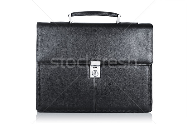 Black leather briefcase isolated on the white Stock photo © Elnur