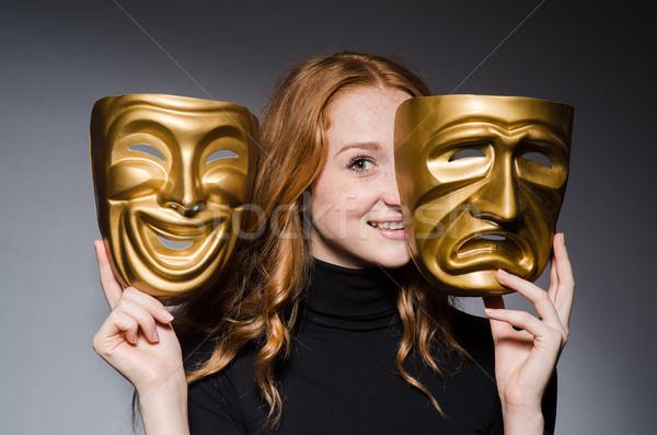 Donna maschera grigio maschere suit Foto d'archivio © Elnur
