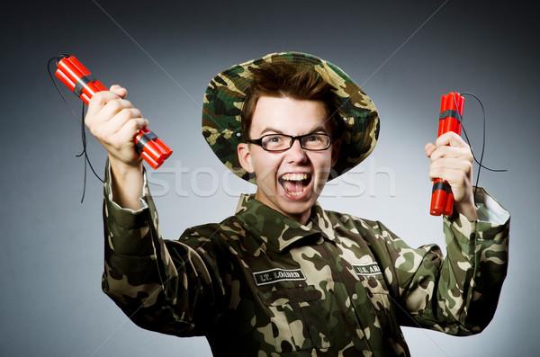 Drôle soldat rouge dynamite homme fond Photo stock © Elnur