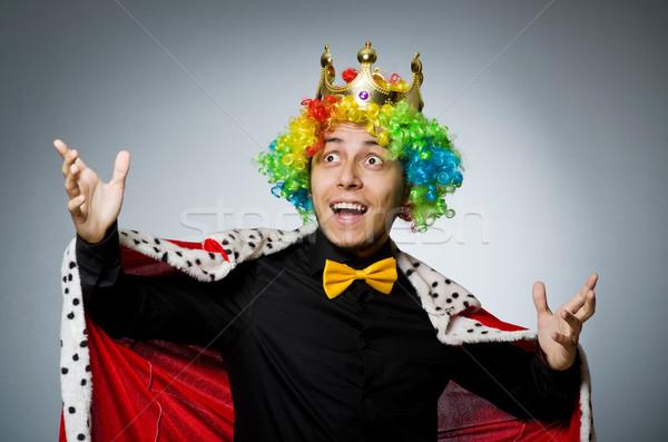 Koning zakenman grappig werk uitvoerende portret Stockfoto © Elnur