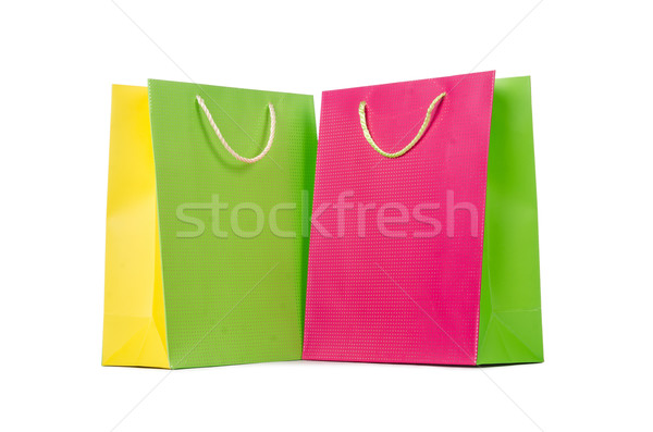 Colourful shopping bags isolated on white Stock photo © Elnur