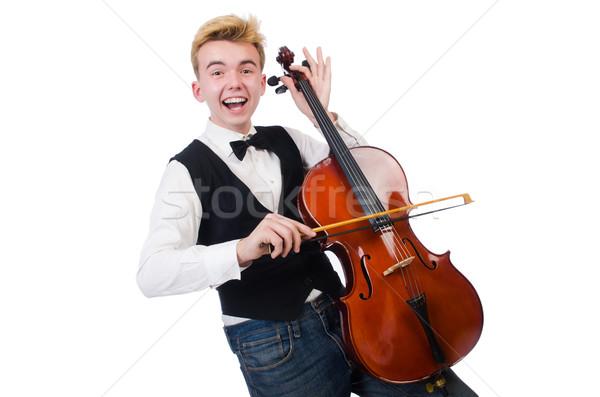 Divertente uomo violino bianco suono maschio Foto d'archivio © Elnur