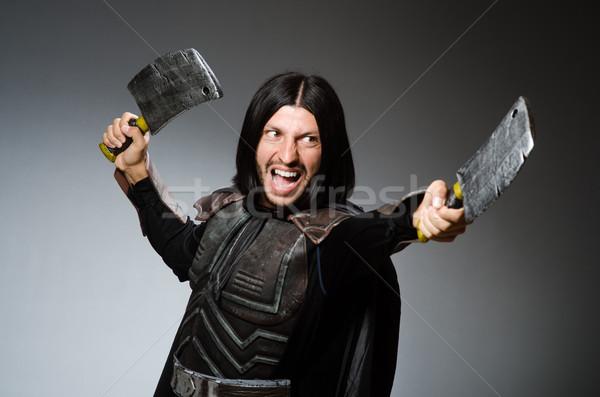 Rycerz topór ciemne człowiek garnitur funny Zdjęcia stock © Elnur