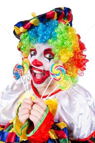 Clown lolly geïsoleerd witte gezicht snoep Stockfoto © Elnur