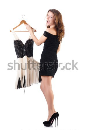 Young woman in black long dress isolated on white Stock photo © Elnur