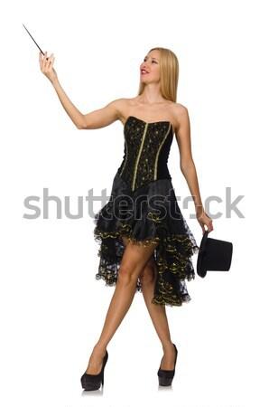 ストックフォト: 女性 · フローラル · 暗い · スカート · 孤立した · 白