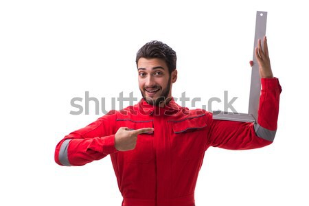 Wrestler in red dress isolated on the white background Stock photo © Elnur