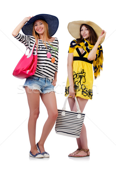 Girls in summer clothing with bags isolated on white Stock photo © Elnur