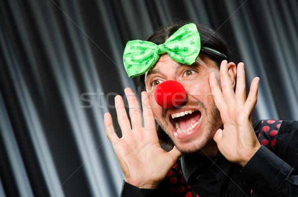 Drôle clown humoristique rideau sourire anniversaire Photo stock © Elnur