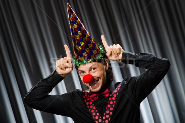 Vicces bohóc humoros függöny mosoly születésnap Stock fotó © Elnur