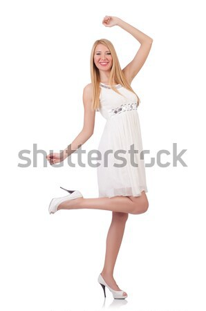 Beautiful woman in white dress isolated on white Stock photo © Elnur