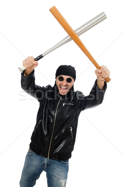 Aggressive man with baseball bat on white Stock photo © Elnur