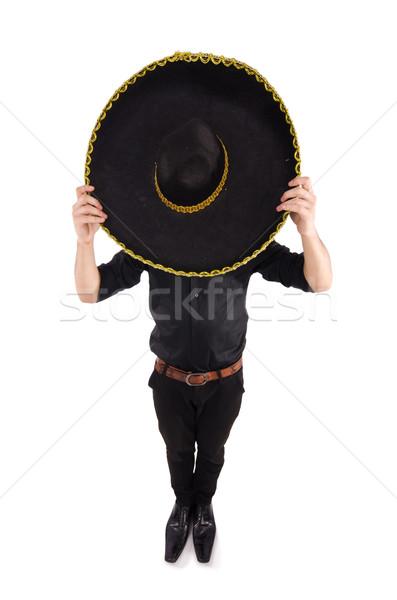 Vicces férfi visel mexikói szombréró kalap Stock fotó © Elnur