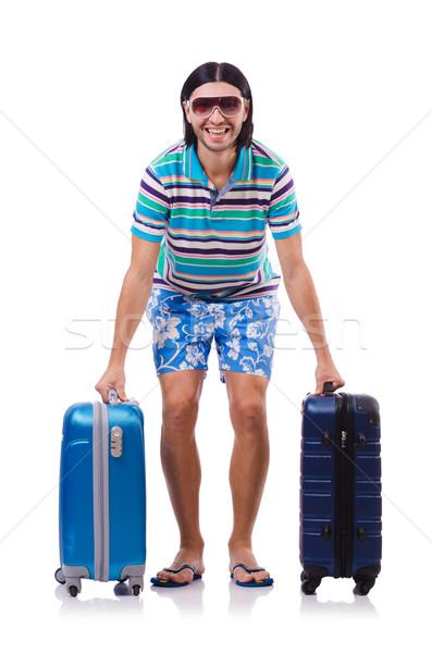 Człowiek walizki odizolowany biały człowiek biały Zdjęcia stock © Elnur