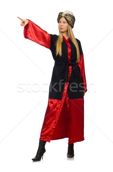 Női bűvész izolált fehér modell fekete Stock fotó © Elnur