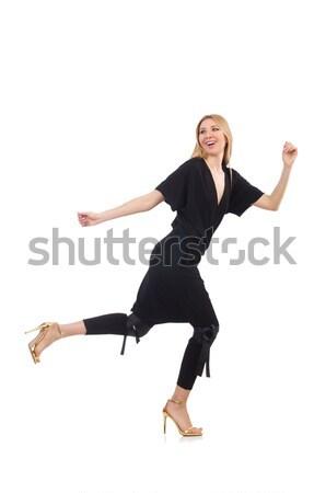 Stock fotó: Csinos · fiatal · nő · fekete · ruházat · izolált · fehér