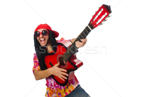 Male musician with guitar isolated on white Stock photo © Elnur