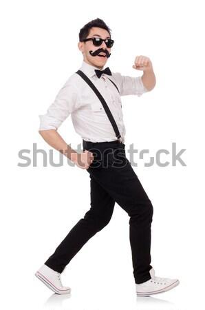 Jonge man snor geïsoleerd witte achtergrond grappig Stockfoto © Elnur
