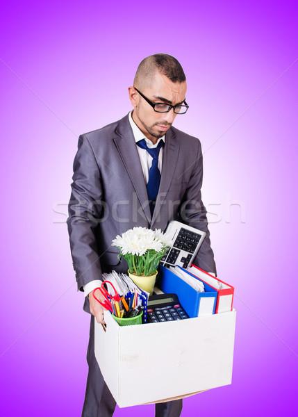 Stock fotó: Férfi · doboz · személyes · üzlet · mosoly · üzletember