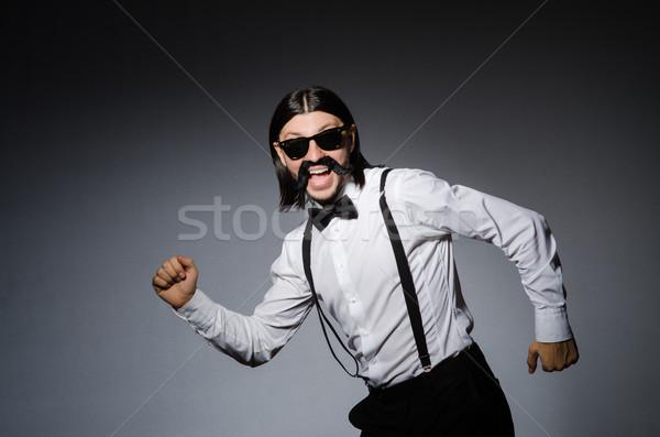 Man snor zonnebril grijs model haren Stockfoto © Elnur