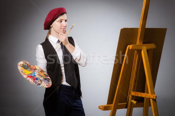 Nő művész művészet lány munka diák Stock fotó © Elnur
