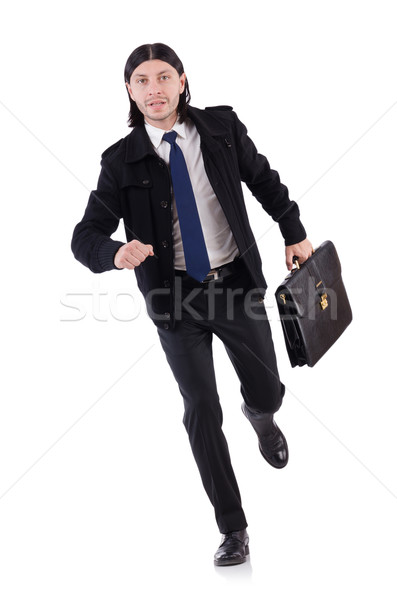 Stockfoto: Jonge · zakenman · aktetas · geïsoleerd · witte